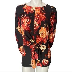 Faith & Joy Floral Knotted Front Top Size Medium
